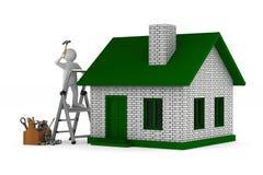 Reparador com caixa de ferramentas de madeira Ilustração 3d isolada ilustração royalty free