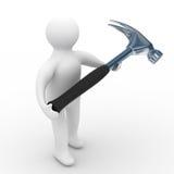 Reparador con la herramienta en un fondo blanco Fotos de archivo libres de regalías