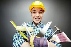 Reparador con las herramientas Fotografía de archivo libre de regalías