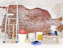 Reparatie in de flat Muur in een bouwconstructiehuis stock foto