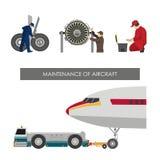 Reparatie en onderhoud van vliegtuigen Reeks beelden met ingenieurs royalty-vrije illustratie