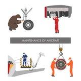 Reparatie en onderhoud van vliegtuigen Reeks vliegtuigendelen in FL vector illustratie