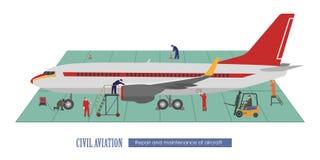 Reparatie en onderhoud van vliegtuigen Vliegtuig en het werken in stock illustratie