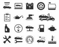 Reparatie en onderhoud van voertuigen, enig-kleurenpictogrammen Stock Afbeelding