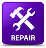 Reparatie (hulpmiddelenpictogram) purpere vierkante knoop Royalty-vrije Stock Afbeeldingen