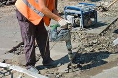 Reparatie van asfaltbestratingen en wegen Stock Afbeelding