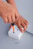 Reparatie van de elektrische contactdoos Royalty-vrije Stock Afbeelding