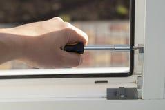 Reparatie van plastic vensters stock fotografie