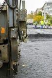 Reparatie van wegen in de stad Stock Foto's