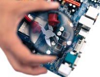Reparaties en onderhoud en toezicht op computer Stock Afbeelding