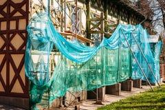 Reparation av fasaden av historisk härlig byggnad landmark royaltyfria foton
