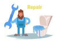 Reparation av sanitära ware vektor cartoon vektor illustrationer