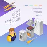 Reparation för hem- anordning Isometriskt begrepp Arbetare utrustning vektor illustrationer
