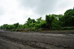 Reparation för tungt maskineri vägen i Indien Utrustning för reparation en väg Bulldozern förbereder byggande en väg Indiskt land royaltyfri fotografi