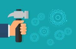reparation Handen med hammaren Begreppet av reparationen och byggnationer Underhållsservice också vektor för coreldrawillustratio royaltyfri illustrationer