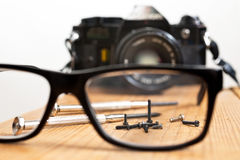 Reparation of old camera Stock Photography