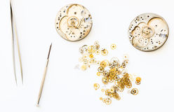 Reparation and restoration of watches. Details of watches and mechanisms for reparation, restoration and maintenance Royalty Free Stock Images