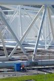 Reparationen arbetar på den Maeslant barriären i krok av Holland Arkivbilder