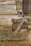 Reparations on old wooden structure Stock Photo
