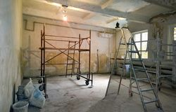 Reparationsarbete i det inre rummet Royaltyfri Bild