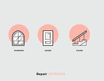 Reparationsinre Plan illustrationuppsättning av linjen moderna symboler Royaltyfria Foton
