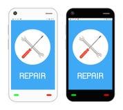Reparationslogo på smartphoneskärmen Arkivfoton