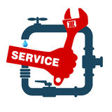 Reparationsrörmokeri och sanitära ware royaltyfri illustrationer