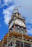 Reparationsstart på Iconic Diamond Jubilee Clock Tower i Chrsitchu Arkivfoton