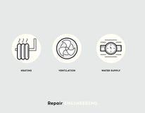 Reparationsteknik Plan illustrationuppsättning av linjen moderna symboler Arkivbilder