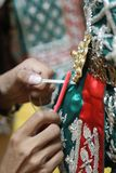 Reparatur, der khon traditionelle Thailänder, Pantomime-Reihe stockbild