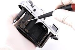 Reparatur der Weinlesekamera Stockfotografie