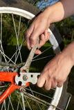 Reparatur des Fahrrades Stockfoto