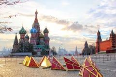 Reparatur des Turms spielt auf Rotem Platz in Moskau die Hauptrolle Lizenzfreies Stockbild