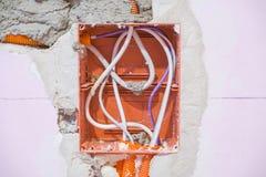 Reparatur, Erneuerung, Strom und Drahtinstallation, Raum erneuernd stockfoto