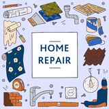 Reparatur und Aufbau des Hauses Vektorschablone mit Rahmen und Werkzeuge f?r Haupterneuerung Vektorhand gezeichnete Abbildung vektor abbildung