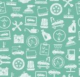 Reparatur und Autoservice, nahtloser Hintergrund, Grün, schattierend mit Bleistift, Vektor Lizenzfreie Stockfotos
