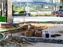 Reparatur- und Wartungsbenzinleitungsu-bahnhofs-Oberfläche Stockbilder