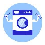 Reparatur von Waschmaschinendienstleistungen Stilisierte Waschmaschine mit den Armen und den Werkzeugen für Reparatur in den Händ Lizenzfreies Stockfoto