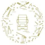 Reparaturautos: LKW, Schlüssel, Schrauben, Schlüssel, Zangen, Steckfassung, Hammer, Stockbilder