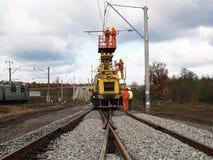 Reparaturen auf der Eisenbahn Stockbild