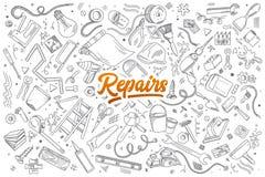Reparaturgekritzel eingestellt mit Beschriftung lizenzfreie abbildung