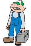 Reparaturhauer mit einem Werkzeugkasten Lizenzfreie Stockfotos