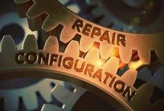Repare el concepto de la configuración Engranajes de oro ilustración 3D Foto de archivo