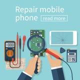 Repare el teléfono móvil stock de ilustración