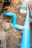 Repare el tubo roto adentro subterráneo Fotografía de archivo