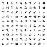 Repare 100 iconos fijados para el web Fotos de archivo