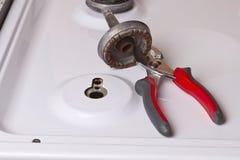 Repare la estufa de gas Fotografía de archivo
