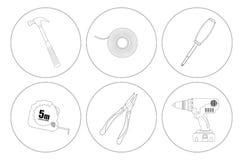 Repare la línea iconos de las herramientas del arte fijados Imágenes de archivo libres de regalías
