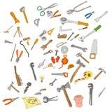 Repare las herramientas Remodele las herramientas conjunto de la vendimia fotos de archivo