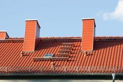 Repare um telhado - telhado de Trepaired Fotografia de Stock Royalty Free